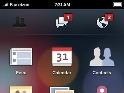 Facebook Phone home screen facebook phone