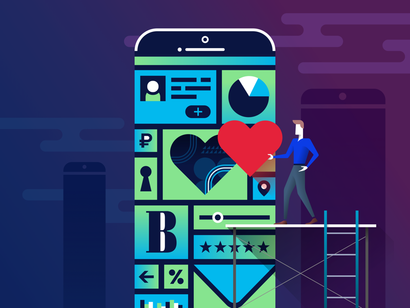 Mobile development for corporations corporate mobile love flat sketch illustration
