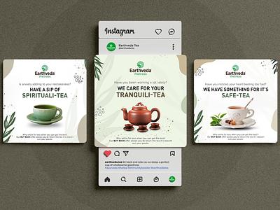 Social Media Design for Green Tea Makers dribbble india designer flat minimal tea green tea facebook instagram post instagram social media branding freelance concept