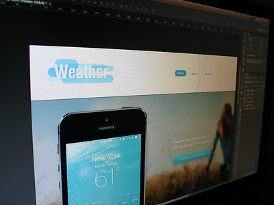 Weather weather landing page photo app iphone ui ux site interface web design