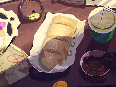 Lunch lunch sandwich debut food drink skull illustration photoshop