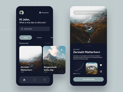 Warm Up - Discovery App discovery ux peak mountian camping skiing simple cool dark app world search discover minimal design clean ui