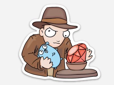 Indiana Golang coding programming ruby gopher illustrator adobe cartoon sticker vector golang go indiana jones