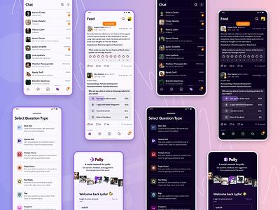 All Mobile Designs (Polly) mobile design mobile app design social network social networking app social media design darkmode uxdesign designagency webdesign uidesign theinfinitecanvas productdesign