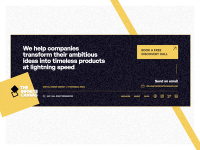 Footer (The Infinite Canvas) landing page marketing website ui design theinfinitecanvas product design ux design brand design freelancer freelancing brand agency design agency website footer website design footer design footer