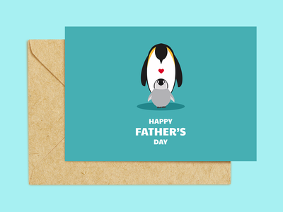 Card Design [ Happy Father's Day ] penguins dad card design card graphic design