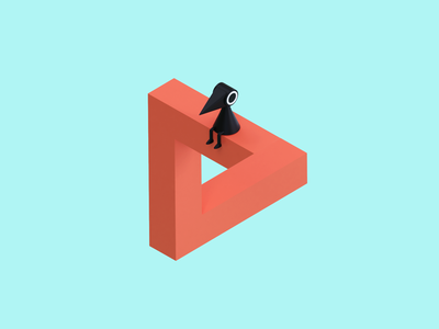 Day 69-70 Crow People 100daysof3dbytx 100daysof3d low poly penrose triangle blendercycles 3d blender monumentvalley fanart crow the100dayproject