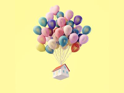 Day 71-73 Balloon House fanart up balloon house flying house 100daysof3dbytx 100daysof3d the100dayproject blendercycles blender 3d