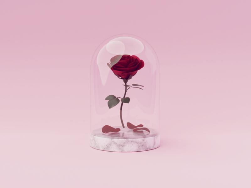 Enchanted Rose petal beauty and the beast rose fanart blendercycles blender 3d 100daysof3dbytx 100daysof3d the100dayproject
