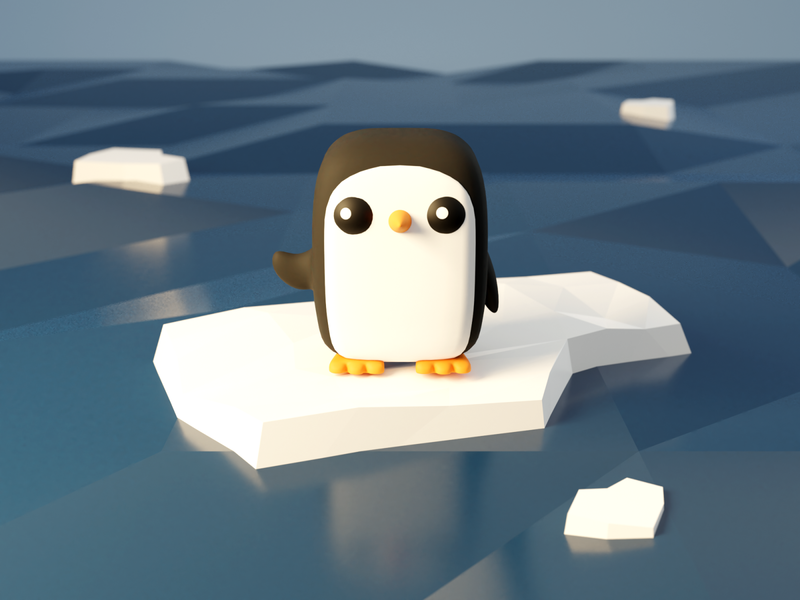 Gunter ocean low poly penguin gunter adventure time fanart blendercycles blender 3d 100daysof3dbytx 100daysof3d the100dayproject