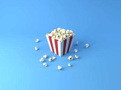 Day 39-40 Popcorn simulation popcorn blendercycles blender 3d 100daysof3dbytx 100daysof3d the100dayproject