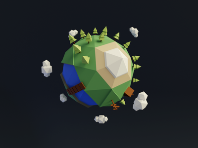 Day 66-68 Low Poly Planet earth planet lowpoly blendercycles blender 3d 100daysof3dbytx 100daysof3d the100dayproject