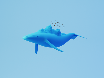 Day 94-96 Mountain Whale 庄子 鲲 逍遥游 bird mountain flying whale blendercycles blender 3d 100daysof3dbytx 100daysof3d the100dayproject