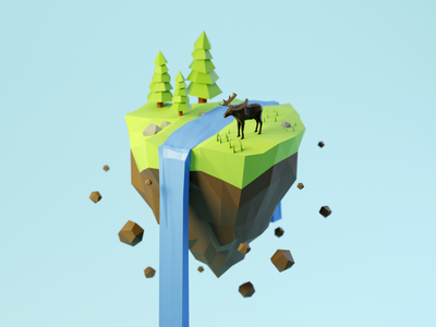 Day 80-83 Moose Island waterfall moose floating island lowpoly3d blendercycles blender 3d 100daysof3dbytx 100daysof3d the100dayproject