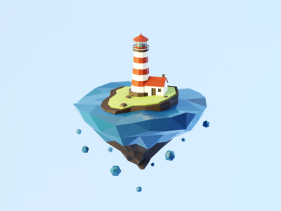 Day 85-87 Lighthouse Island lowpoly floating island lighthouse blendercycles blender 100daysof3dbytx 3d 100daysof3d the100dayproject