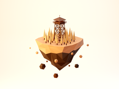 Day 97-99 Watchtower Island floating island solitude forest watchtower fanart firewatch blendercycles blender 3d 100daysof3dbytx 100daysof3d the100dayproject