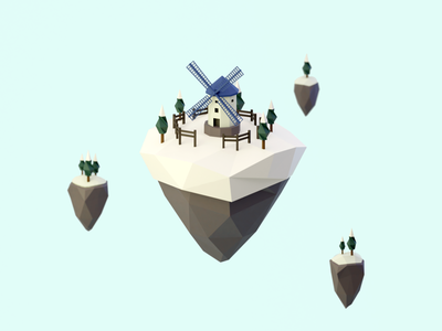Day 91-93 Windmill Island winter snow lowpoly floating island windmill 3d blendercycles blender 100daysof3dbytx 100daysof3d the100dayproject