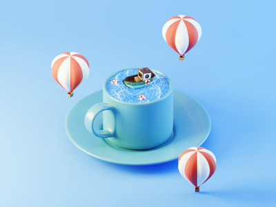 Day 100 Daydream in a Cup ocean hot air balloon boat mug cup daydream blendercycles blender 3d 100daysof3dbytx 100daysof3d the100dayproject