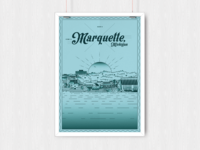 Marquette Waterfront Vector Poster