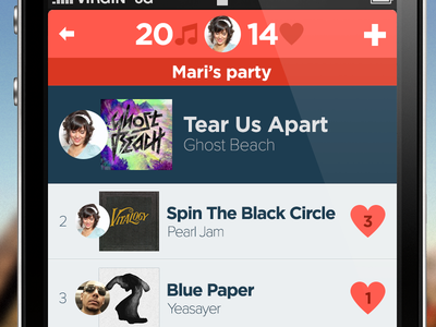 Playlist screen flat ui music playlist iphone ios design circular profile like rdio flat design