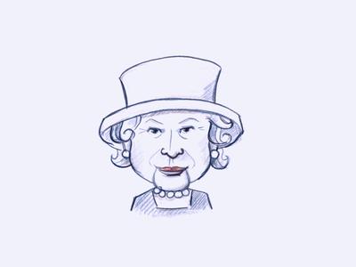 Portrait of Queen Elizsabeth illustration woman colorpencil analogue drawing queen portrait