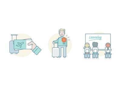 Illustration for a teaching website man traveler school students flighttickets travel flight people vector