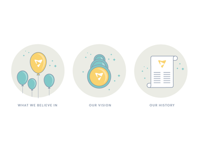 Website Illustrations for »About Us« vector believe vision fancy stars roll telescope logo balloon turquoise beige