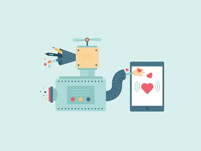 Illustration for an app company ipad vector digital pen brush machine love heart