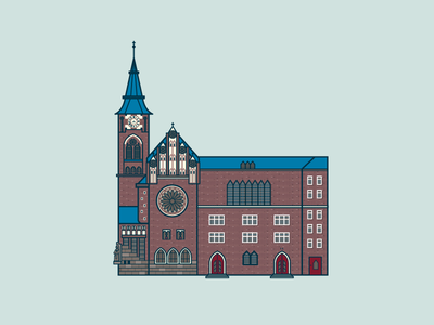 Zwingli Kirche in Berlin Friedrichshain building old red drawing vector house church