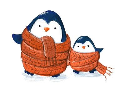 Penguins ipadpro orange scarf illustration blue penguins