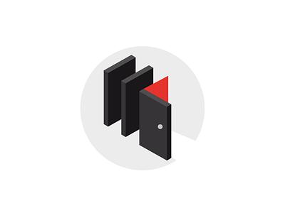 Website Illustration idea for coaching red white black illustration domino door