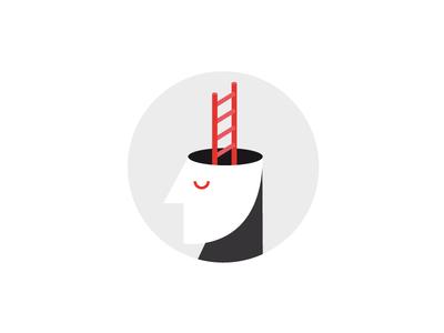 Website Illustration idea for career planning red white black illustration brain face ladder planning career