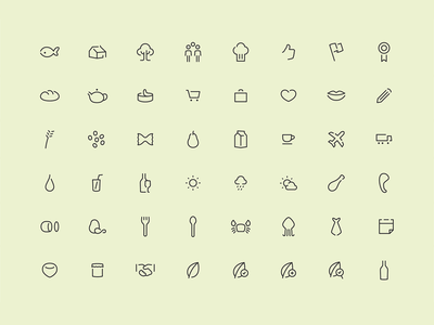 48 Grocery Food Icons 100% Editable Stroke etsy editable icon gluten grocery line monoline food shop minimal flat icons
