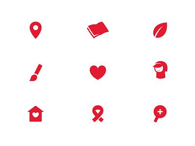 La Caputxeta Icons info collaborate social house home heart brush leaf book location little red riding hood branding illustration flat logo icon vector