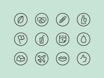 Flat Icons leaf hand pencil wine flag drink calendar fruit house travel smile like