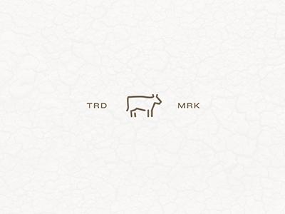 Cow line flat icon farm far west jeans leather logo