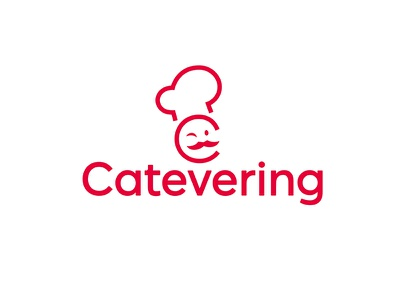 Catevering Full Logo moustache hat app catering cook chef icon logo