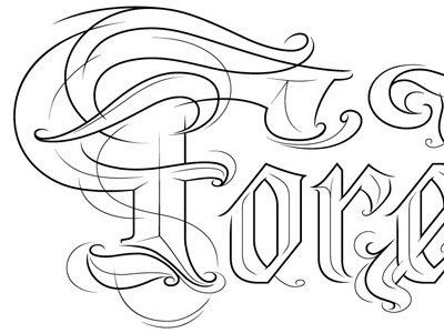 the Forest (line) lettering handwriting forest black white