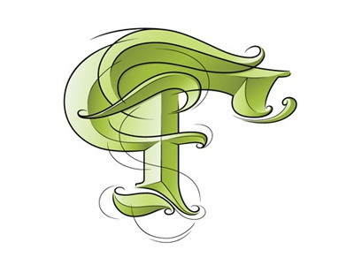 —F— lettering handwriting forest color
