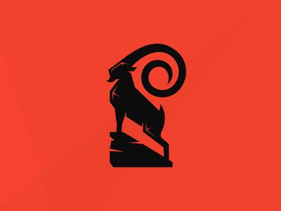Ibex1 ibex power strenght mountain rock spiral head horn animal goat simple shape logo buck antler