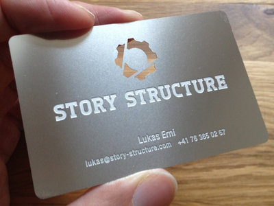 Story Structure - business card story structure gear pen pencil cog circle business card design metal cut engraved steel