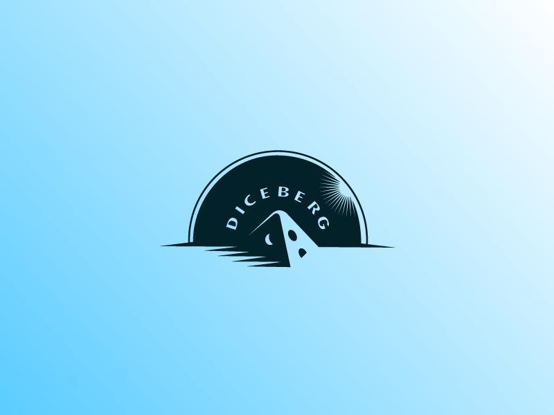 Diceberg dice ice iceberg pole north star sky cloud gamble casino number logo stevan negative space