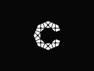C mark, wip c mark letter shape software hexa techy technology logo board