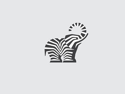 Striped Elephant black icon line africa stripe nature logo animal zebra elephant