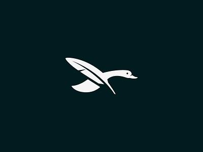 Drakes Penwell 1 duck pen feather beak animal light logo bird design wing fly