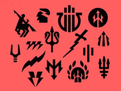 gods bolt trident centaur thunder icon logo mythology symbols greek god