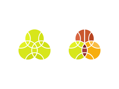 Sports balls diagram venn circle unity logo icon football basketball tennis ball sport