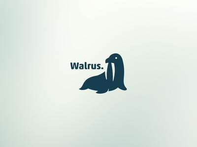 Walrus walrus tooth pole animal tusk negative space single color logo ink