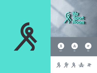 MySportRoom active linework line fitness yoga logo sport
