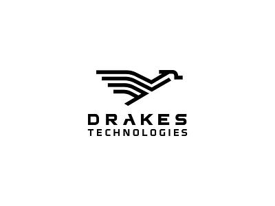 Drakes Technologies duck symbol board light circuit line animal icon logo technologies